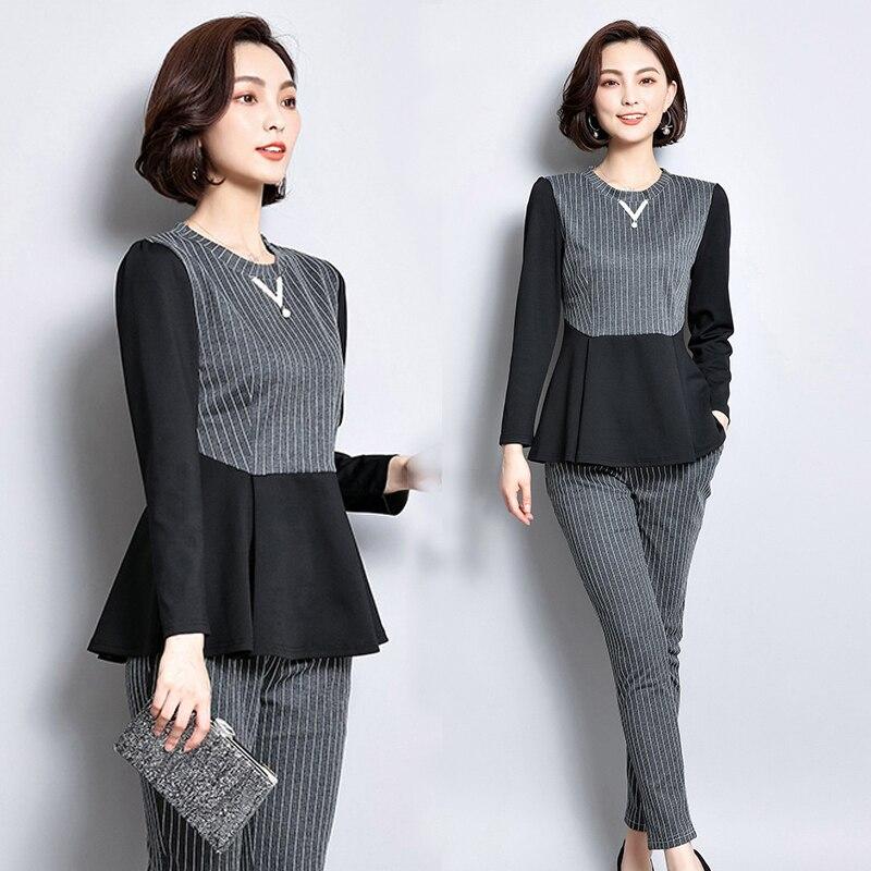 2 piece set women clothes co-ord set striped top pants suits plus size large big 3xl 4xl 5xl outfits winter autumn elegant noble