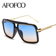 AFOFOO Fashion Oversized Sunglasses Brand Designer Vintage Big Frame Square Women Men Mirror Sun glasses UV400 Shades Eyewear