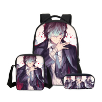 Fashion Brand Anime Design Stray Dogs 3D Printing Girls Student Backpacks Set with Shoulder Bags Pencil Case Boys School Bookbag