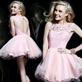 2015 A-line Cap Sleeves Open Back Organza Lace Pink Short Mini Homecoming Dresses Cocktail Dresses