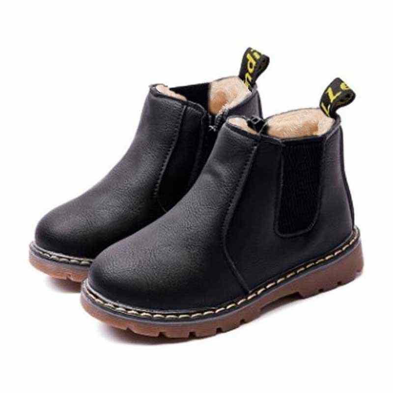 d86ac854b9f Дети ботильоны обувь для девочек мальчиков Челси с бархатом теплые осенние  ботинки martin детская зимняя