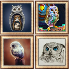 FineTime 5D Animal Owl Nighthawk DIY Diamond Painting Full Round Drill Diamond Embroidery Mosaic Cross Stitch finetime full round 5d diy diamond painting color dog diamond embroidery cross stitch animal gift decoration