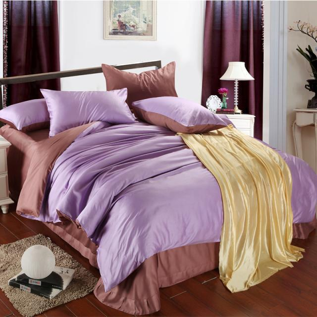 Luxury Purple Lilac Brown Sheet Bedding Set King Duvet Cover Quilt Double Bed In