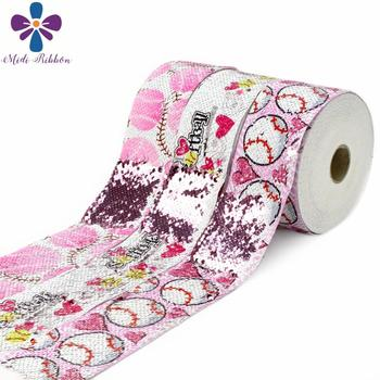 """3""""75mm Sports Lover Series Pink Softball Printed Double Reversible Rose Pink Sequin Ribbon Red Heart DIY Hair Bowknots 46yards"""