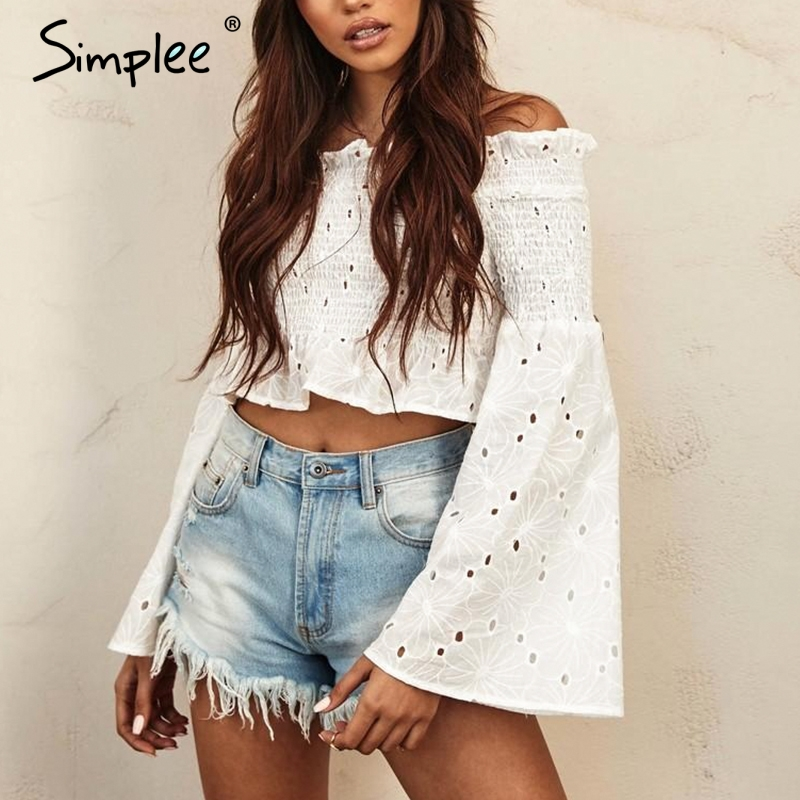 Simplee Elegant off shoulder white   blouse     shirt   women Cotton embroidery ruched summer   blouse   2018 Flare long sleeve   blouse