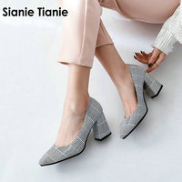 Sianie Tianie checked plaid pointed toe office career woman pumps stiletto dress shoes high heels shoes ladies plus size 45 46