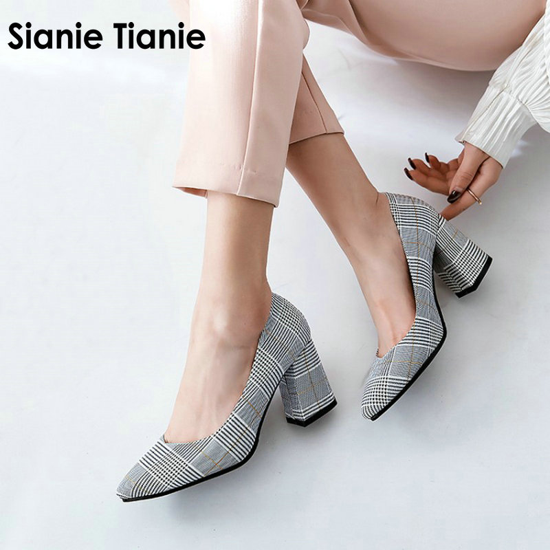 Sianie Tianie checked plaid pointed toe office career woman pumps stiletto dress shoes high heels shoes ladies plus size 45 46 plus size checked pin up skater midi dress