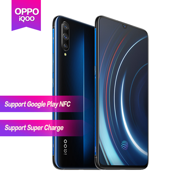 VIVO iQOO Android 9 Mobile Phone OTA Update Fingerprint ID Snapdragon 855 NFC Type-C 4000mAh 44W Fast Charge 4D Game Cellphone mobile phone