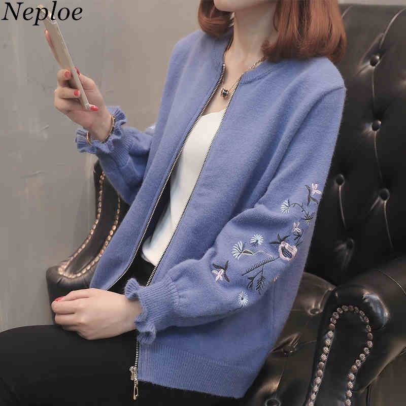 Neploe Female Cardigan Women Sweater Long-Sleeve Embroidery O-Neck Autumn New Floral