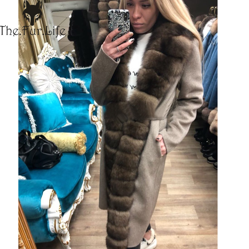 Furealux Double-sided Woolen Blend Natural Real Fox  Fur Coat With Belt Genuine Leather Jacket Women New Real Fur Jacket Women