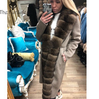 Fashion Double sided Woolen Blend Natural Real Fox Fur Coat With Belt Genuine Leather Jacket Women New Real Fur Jacket Women