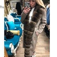 Furealux Двусторонняя Шерстяная Смесь натурального меха лисы пальто с поясом из натуральной кожи женская новая куртка из натурального меха для