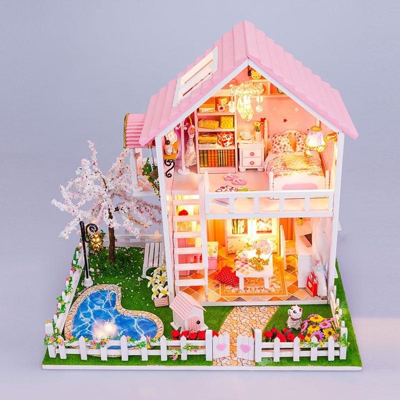 DIY Wooden Dollhouse 3D Villa Model Puzzle Miniature Cherry Tree Hut Dolls House Furniture Kits LED Lights For Christmas Gift