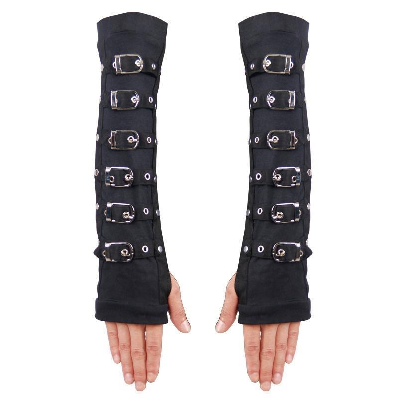 Devil Fashion Women's Strappy Fingerless Long Gloves HDS114