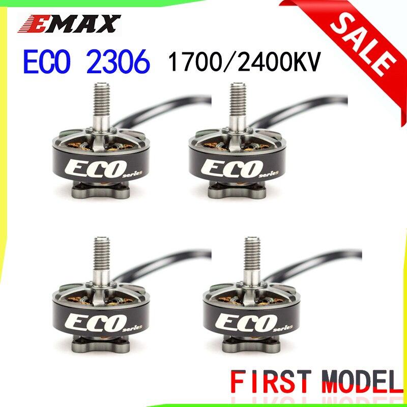 Emax ECO série 2306 moteur 1700KV 3 ~ 6 s/2400KV 2 ~ 4 s moteur Durable pour bricolage course FPV Drone hélicoptère RC 4 pièces