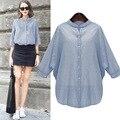 Mulheres Blusa Listrada Ocasional Das Senhoras Slim Fit Manga Morcego Plus Size Camisa Da Moda Tops Tamanho Grande XL-5XL Blusas Listras Verticais