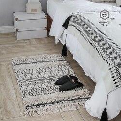 Nórdico tapetes de algodão para sala estar quarto tapetes para casa preto borla moda decoração simples tapete da porta área quente