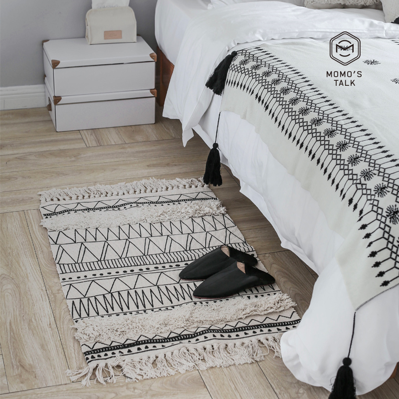Nordic Cotton Carpets For Living Room Bedroom Rugs Home Carpet Black Tassel Fashion Simple Decor Floor