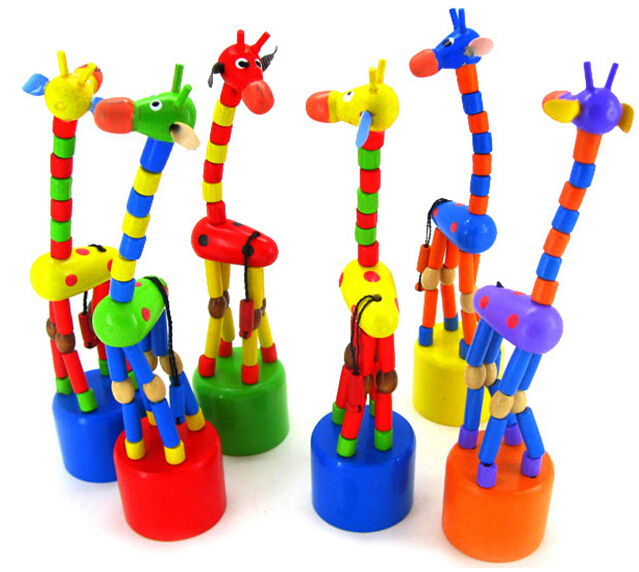 1pcs Wooden Giraffe Spring swing small animal model Baby toys gift free shipping GYH