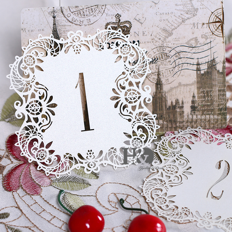 10pcsset Ivory Hollow Lace Table Number Table Cards From 1 To 10