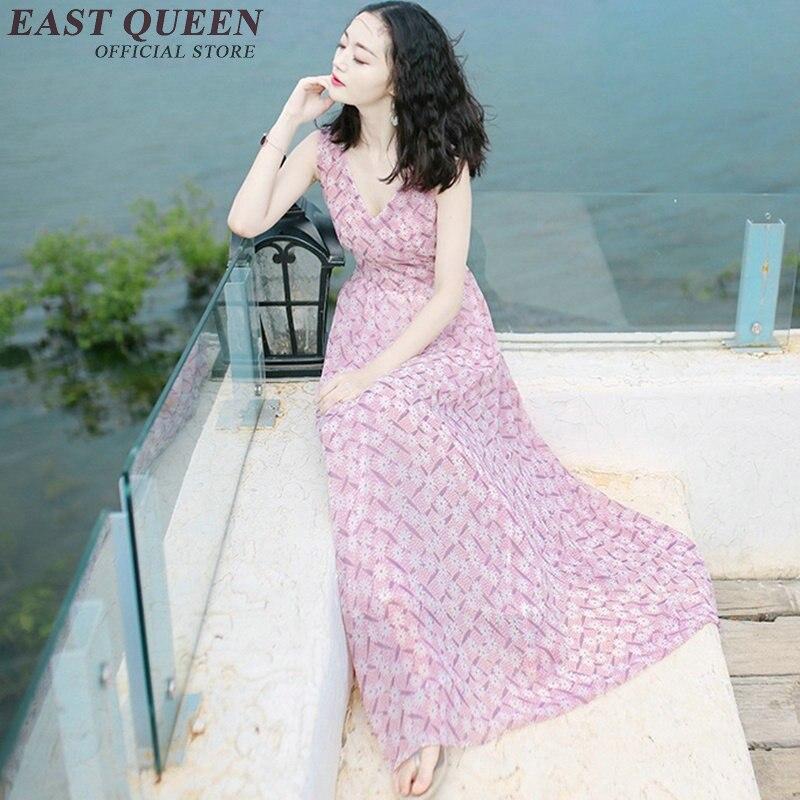 1 Plage Q D'été Casual Vacances Maxi Mer Vintage Robe Kk476 Robes Femme V cou Longues Boho Floral qtxBfan