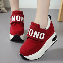 Autumn and winter new high-end womens shoes Hook & Loop muffin high-top fashion sneakers casual