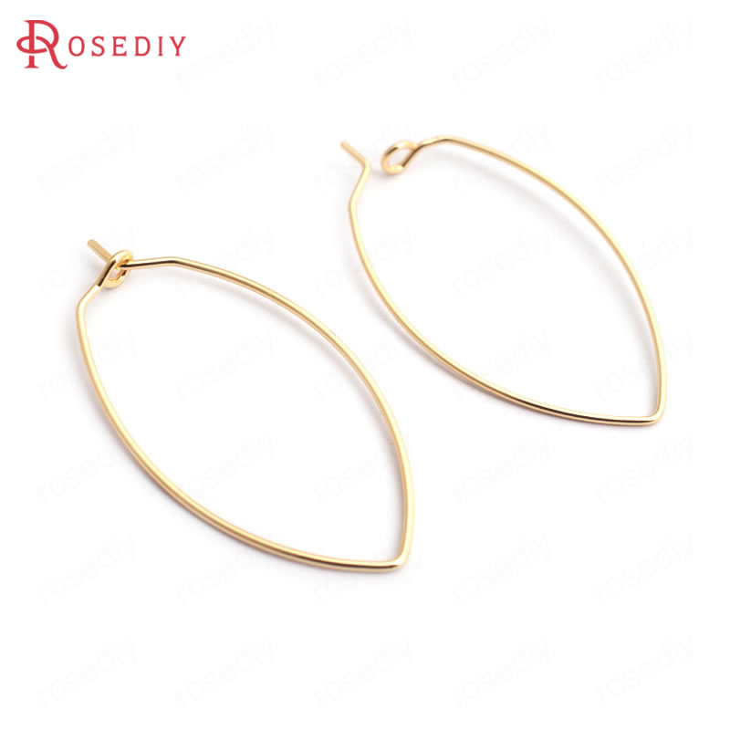 (35206)20PCS 38x19MM Thickness 0.7MM 24K Gold Color Brass Long Oval Earrings Hooks High Quality Diy Jewelry Findings Accessories