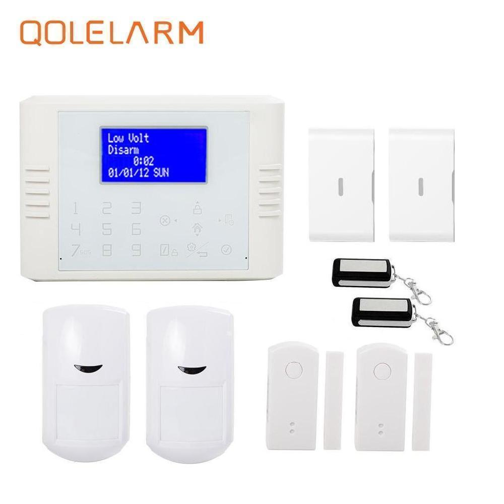 цены Polish/Spanish 433mhz Wireless quad band SIM card GSM+PSTN telephone Alarm System kit Home Security with vibration+panic sensor
