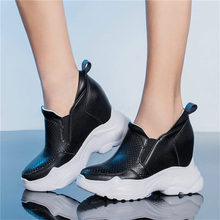 Goth Creepers Women Tennis Shoes Cow Leather Wedges Platform Ankle Boots Summer High Heel Party Pumps Black White Punk Trainers
