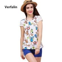 Verfalin Tops/2017 Summer Women Short Sleeve Printed Lace T-Shirt Top Tees/Female Slim Casual White Black Girls T-Shirt Clothing