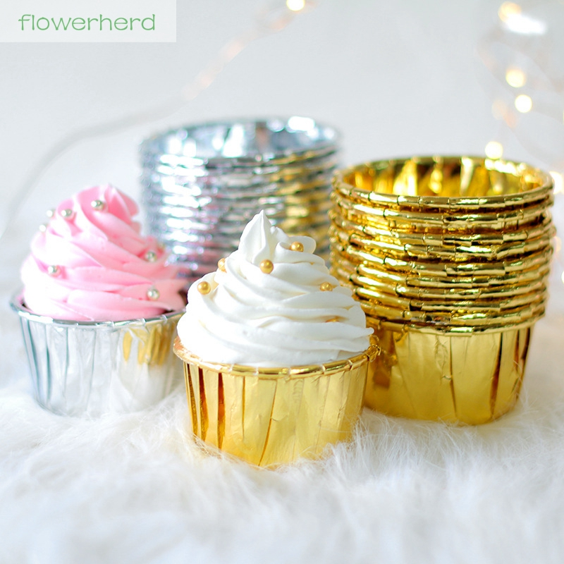 20pcs Curling Aluminium Foil Cake Cup Cupcake Cases Liners Muffin Kitchen Baking Wedding Party Decorating Tool Gold Tray Cake