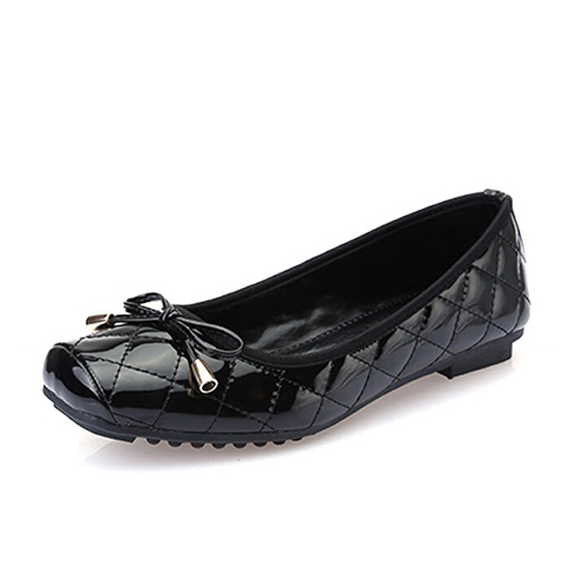 Women Ballet Flats For Summer 2016 New Bowtie Square-toe PU Leather Shoes Woman Fashion Slip-on Loafers Size Plus 35-41 XWD3698