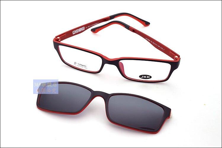 Ультра-светильник, вольфрам, титан, оправа для очков, 3D магнит, зажим, солнцезащитные очки, близорукость, функциональные очки, поляризационные, JKK 79 - Цвет оправы: black red