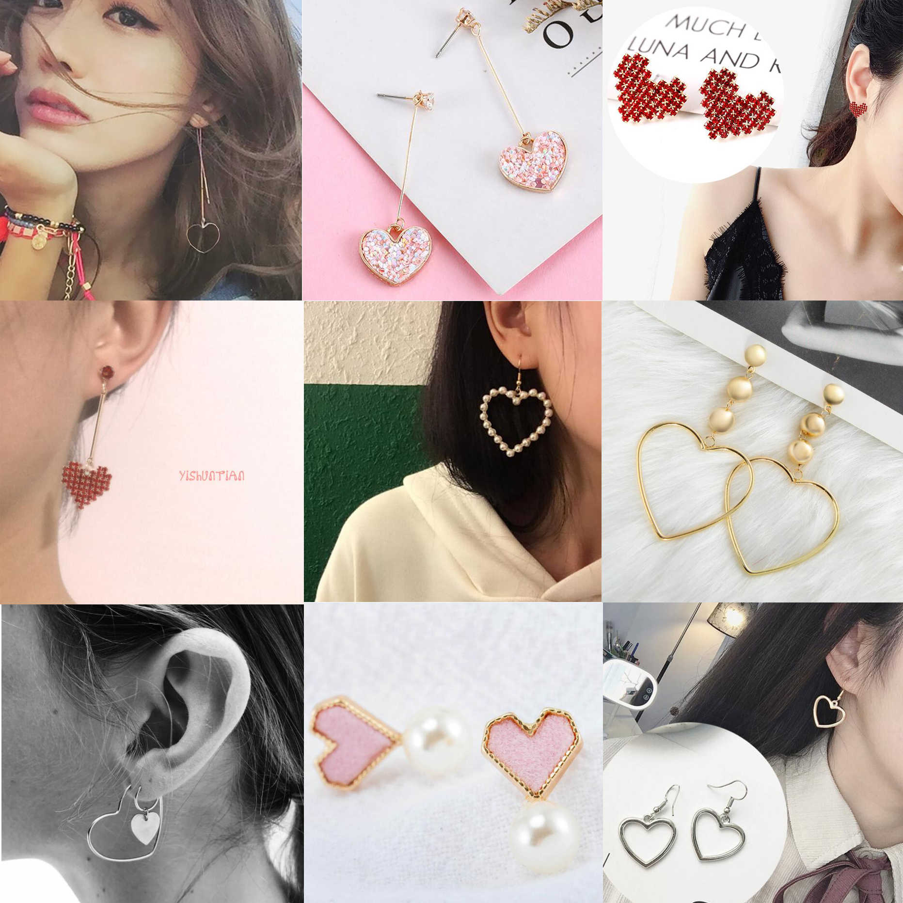 Earrings For Women Heart Shaped Pearl Girls Gift Fashion Jewelry Trend Sexy Charm Dangler Eardrop
