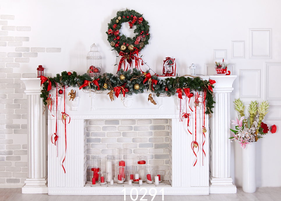 Christmas Fireplace Garland 7X5ft Photography Backdrops For Photo Studio Backgrounds For Children Baby Party Photo Shooting