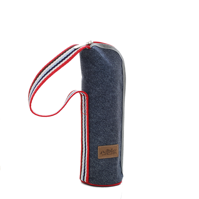 Denim Jeans aluminum foil tote glass cup bottle sets case holder sac thermique isotherme insulated thermal isothermal heat bags