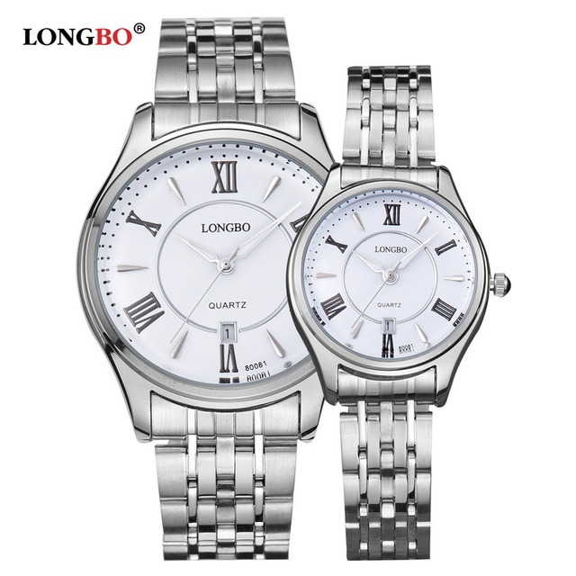 LONGBO Luxury Lovers Couple Watches Men Date Day Waterproof Women Gold Stainless