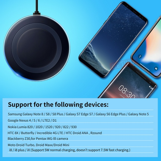 GETIHU Qi Wireless Charger For iPhone X 8 Samsung Note 8 S8 Plus S7 S6 Edge Phone Wireless Charging Charge Docking Dock Receiver