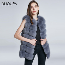DUOUPA Natural Real Fox Fur Vest Jacket Waistcoat Short sleeveless Vestwoman winter warm Natural Fur Vest Real Fur Jacket Fox недорого
