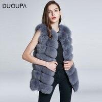 DUOUPA Natural Real Fox Fur Vest Jacket Waistcoat Short sleeveless Vestwoman winter warm Natural Fur Vest Real Fur Jacket Fox