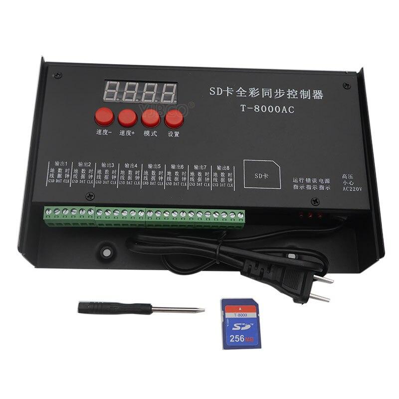 LED de contrôle T8000AC Contrôleur De Carte D'ÉCART-type pour WS2801 WS2811 LPD8806 8192 Pixels DC5V imperméable À l'eau étanche contrôleur AC110-240V
