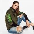 2017 Otoño patrón de la letra de impresión chaquetas de moda estilo caliente otoño abrigos mujer delgada outwear chaquetas abrigos verde del ejército
