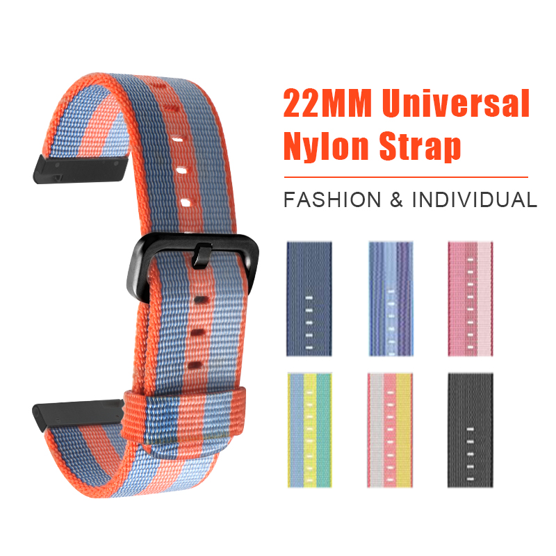 SIKAI New 22mm Universal Nylon Bracelet For HUAMI AMAZFIT Pace Smart watch Band Strap For 22mm Watch Fashion Bracelets ashei 22mm newest nylon loop watchbands for xiaomi huami amazfit strap watch band woven nylon fabric bracelet for huami amazfitt