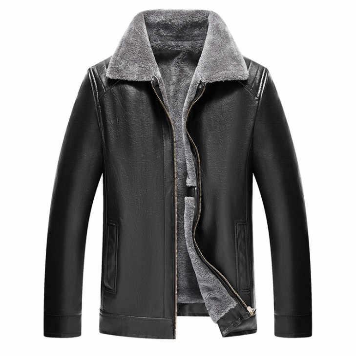 Зимние Для мужчин мужская кожаная куртка пальто с мехом внутри мужской PU кожаная мотоциклетная куртка и пальто из кожи, полиуретана верхняя одежда; куртки Плюс Размеры 5XL