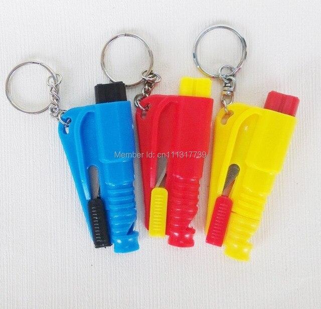 5PCS 3 in 1 Car Windows Breaker Seat Belt Cutter Rescue SOS Whistle Keychain
