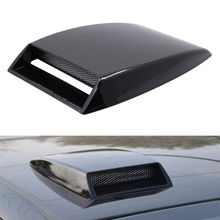 Black ABS + Aluminium Blk Universal Car Decorative Air Flow Intake Hood Scoop Vent Bonnet Cover Trim Accessories Car Styling