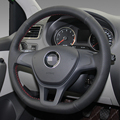 Black Artificial Leather DIY Hand-stitched Steering Wheel Cover for Volkswagen VW Golf 7 Mk7 New Polo 2014 2015