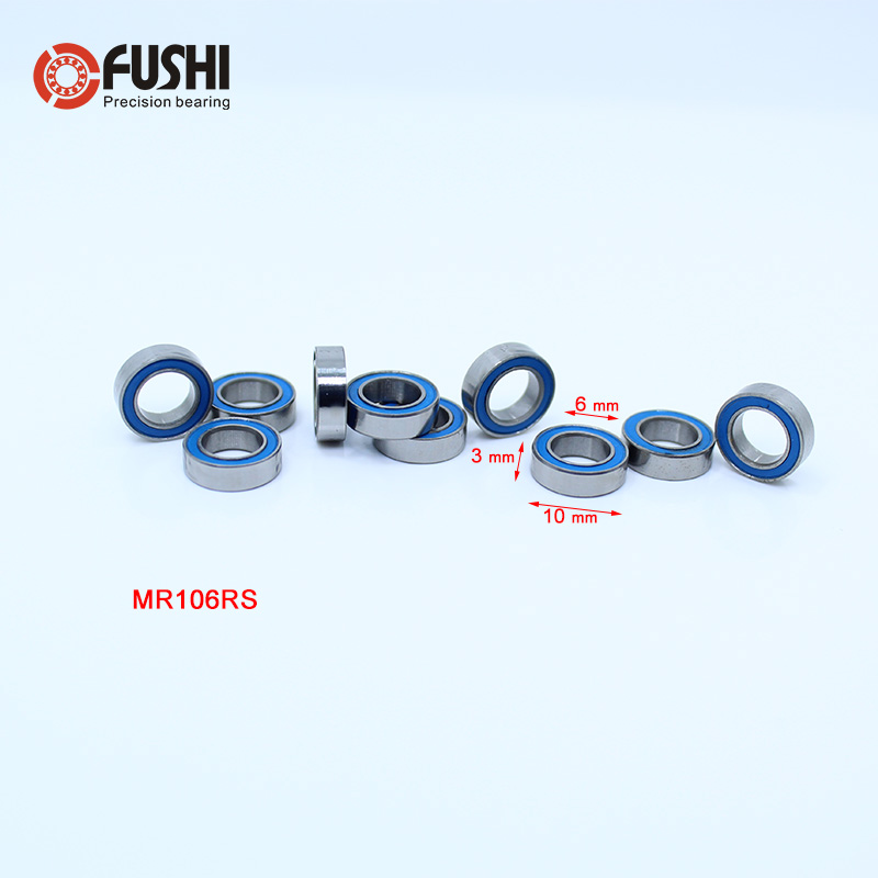 MR106RS Bearing ABEC-3 (10PCS) 6*10*3 mm Miniature MR106-2RS Ball Bearings RS MR106 2RS With Blue Sealed L-1060DD 6702rs bearing abec 3 10pcs 15 21 4 mm thin section 6702 2rs ball bearings 61702 rs 6702 2rs with orange sealed