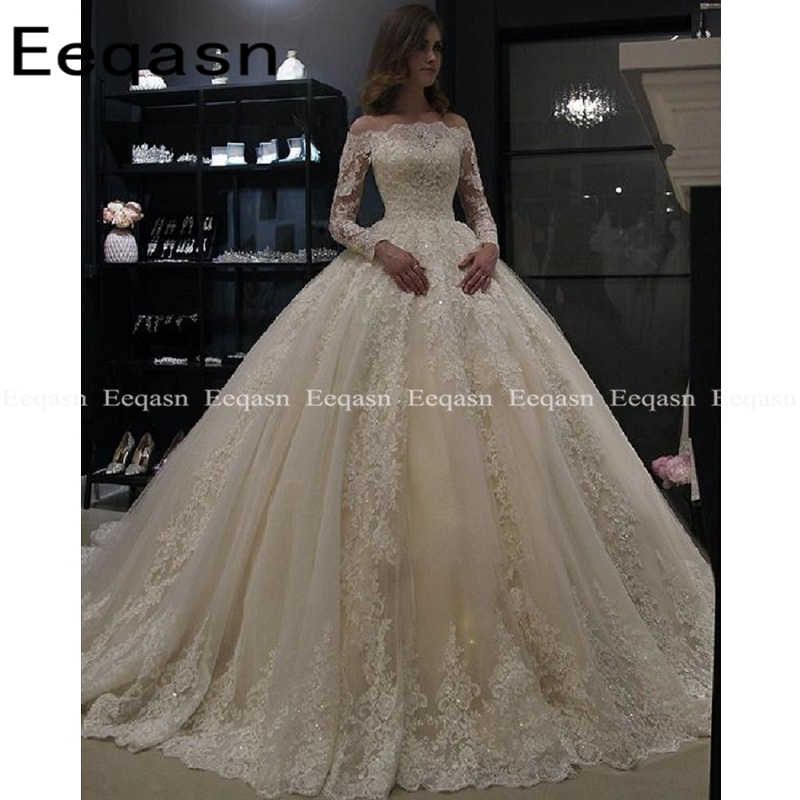Luxury Ball Gown White Long Sleeves Wedding Dresses 2019 Muslim Lace Dubai Arabic Wedding Gown Bride Dress Robe De Mariee