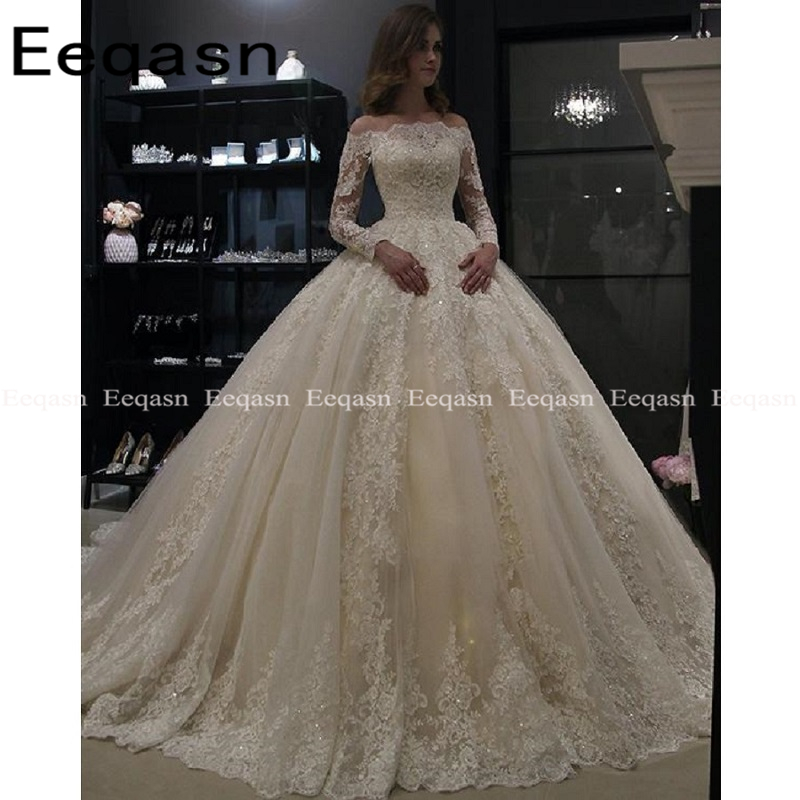 Luxury Ball Gown White Long Sleeves Wedding Dresses 2020 Muslim Lace Dubai Arabic Wedding Gown Bride Dress Robe De Mariee